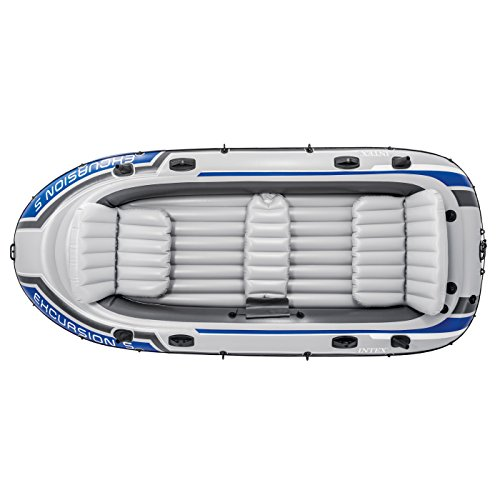 Intex Excursion 5, 5-Person Inflatable Boat Set with Aluminum Oars and High Output Air-Pump (Latest Model)