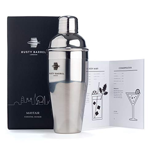 Rusty Barrel Mayfair Silver Cocktail Shaker - Large 750ml Manhattan Style Stainless Steel Shaker - Presented in a Gift Box (UK Brand)