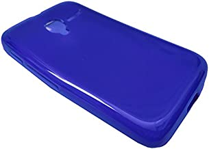 For Alcatel Onetouch Pixi GLITZ A463BG Soft TPU Crystal Skin Protective Case Phone Cover + Happy Face Phone Dust Plug (TPU BLUE)