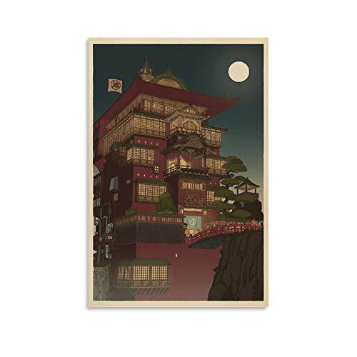 BUJI Studio Ghibli Spirited Away Hayao Miyazaki Filmposter, Leinwand, Wandkunst, Raumdekoration, Geschenk, 40 x 60 cm