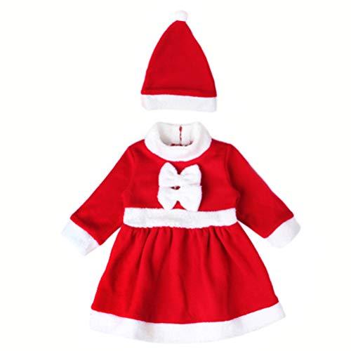 FENICAL weihnachtsoutfit Kleinkind weihnachtsmann kostüm Set Weihnachtsfeier Cosplay Kleid und Hut Set für Kinder Babys - größe l