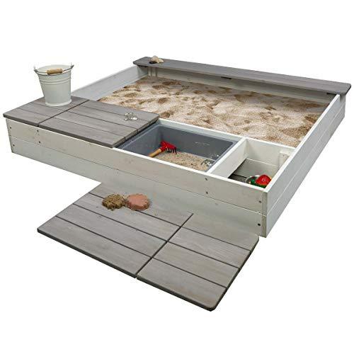 Meppi Sandkasten Laboe Weiss / grau - Sandkiste aus Holz - Sandbox