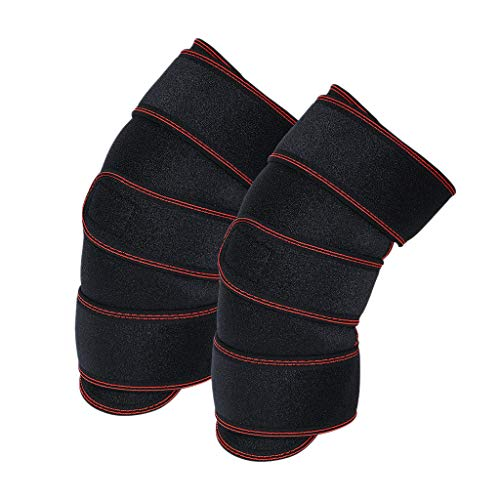 Kuerqi Self-heating Magnetic Therapy Knee Support Protector Belt Sport Thermal Knee Pad For All Sports,Faster Injury Recovery(Red-L-2Pcs)– for Best FIT Check Sizing Chart