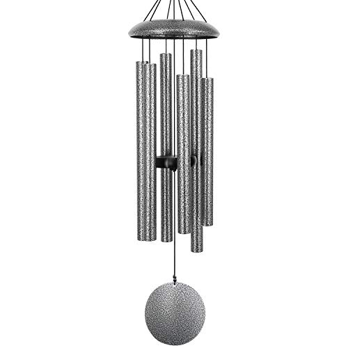"Sympathy Wind Chimes Amazing Grace Large,36""Memorial Wind Chimes with 6 Metal Tubes,Tuned Wind Chimes Outdoor Deep Tone for Garden Christmas Hanging Decor,Sympathy Gifts,Antique Silver(A Free Card)"