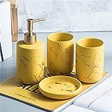 Set di Accessori da Bagno in Ceramica, Set da Bagno Creativi con Portaspazzolino, Portasapone, Dispenser per Lozioni, Tazza per Denti Set 4 Pezzi/Giallo