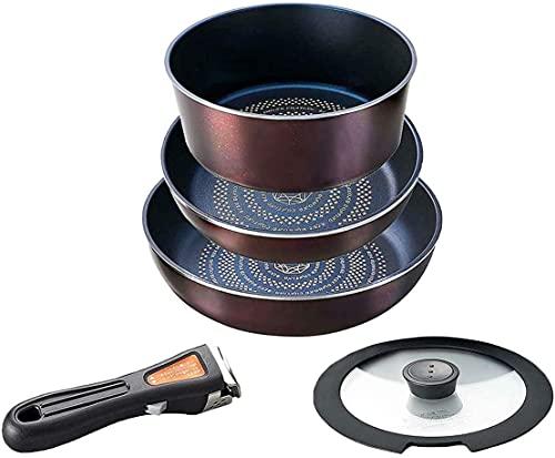 パール金属 フライパン 鍋 5点 セット IH対応 ブラウン ダイヤモンドコート 取っ手の取れる セット5 HB-3497