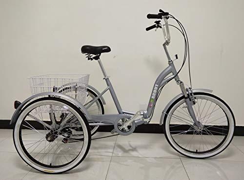 Quality Dreirad für Erwachsene, Dreirad, Klapprahmen, 6-Gang-Shimano-Getriebe, Alurahmen, Vorderradaufhängung (grau)