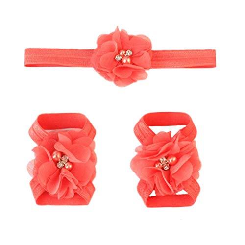 Huilongxin Flor de la Gasa 3pcs Diadema Sandalias Descalzas Conjunto de bebé para niños elástica del pie Banda Bandas del Pelo sólidas para la Fotografía