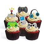 Decoraciones comestibles para magdalenas con diseño de jugador – opción precortada – Oblea de pie para decoración de tartas (precortada paquete de 12)