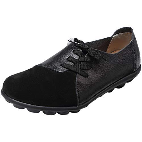 Mallimoda Damen Mokassin Casual Loafers Komfort Leder Flache Schnürschuhe Schwarz 39