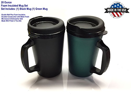 20 oz ThermoServ Foam Insulated Coffee Mug Black/Green Two Pack