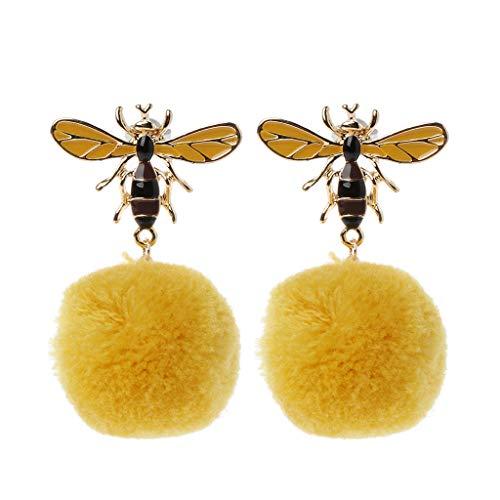 Joocyee Lovely Bee Pom Pom Ball Pendientes Colgantes Mujer Abeja en Nido de Abeja Joyas, Pendientes de Bola de Pelo de Abeja, Amarillo