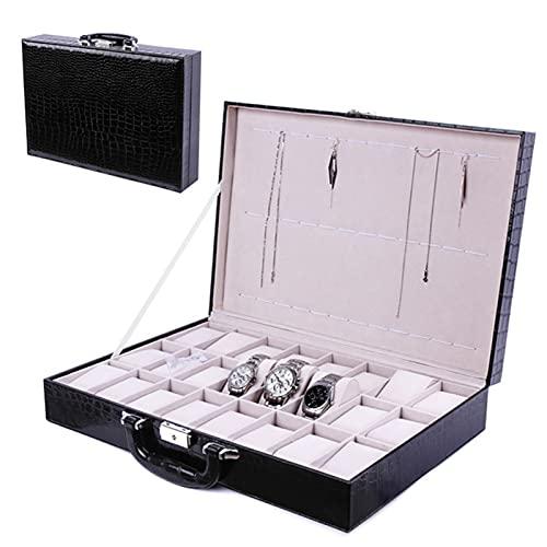 QKFON Caja de reloj de piel sintética, organizador de almacenamiento práctico a prueba de polvo para el hogar y la oficina, adecuado para guardar relojes, anillos, pendientes, pulseras y collares