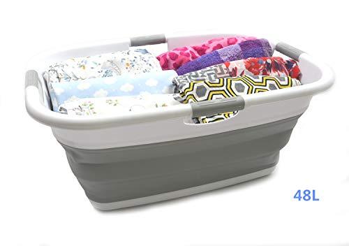 SAMMART Wäschekorb, zusammenklappbar, rechteckig, faltbar, Aufbewahrungsbehälter/Organizer, tragbar, platzsparend, für den Kofferraum, Haustier-Badewanne (Grau)