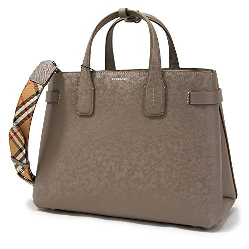 W 34 x H 25 x D 16 cm, Strap 91 cm Burberry Check Pattern Handle Leather Interior Pockets Dust Bag Included