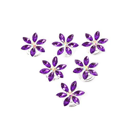 JUSTFOX - 6 Strass Curlies Blüten Haarschmuck (lila)