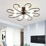 Lámpara colgante de techo E26 lámpara de techo dormitorio nórdico molecular luces de techo para sala de estar, lámpara de techo, montaje empotrado, montaje en techo, cocina, color negro, 80 cm