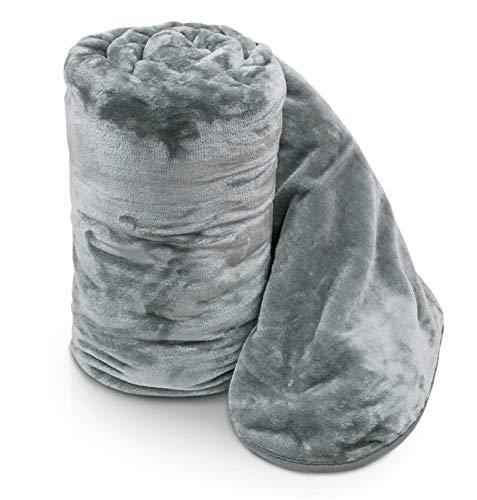 Ashley Mills Soft Luxury Faux Velvet Fur Mink Throw Over Sofa Bed Blanket Silver Smoke Grey Double 150x200cms