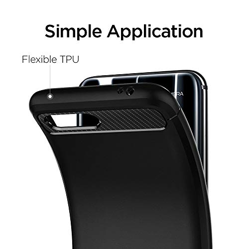 Rugged Armor für Huawei Honor 10 Hülle Karbon Look Stylisch Soft Flex TPU Silikon Handyhülle Schutzhülle Case – Schwarz - 4