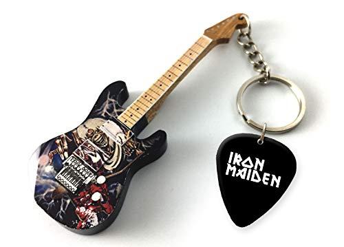 Music Legends Iron Maiden Number of The Beast Wooden DS Gitarren-Keyring & Matching Plektrum