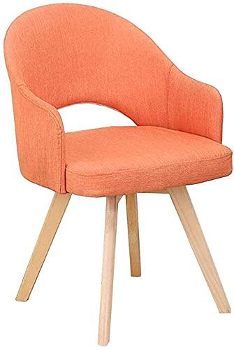 VEESYV Sillas de cocina, comedor, sala de estar, ocio, sofá, patas de madera, muebles modernos y sillas de mesa (color naranja)
