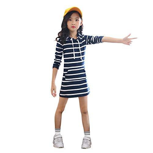 INLLADDY Kleid MäDchen Einfarbig Gestreiften LangäRmeligen Kapuzenpullover Rock Bleistiftrock Prinzessin Kleid LäSsig Strandparty Kleidung Marine Höhe:130cm