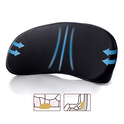 Lumbar Support Pillow for Car Seat – Multi-Use Memory Foam Lower Back Cushion with Ergonomic Streamline, Upgraded for Waist & Hip Pain Relief, Perfect for Office Chair,Car Driver, Recliner,Black