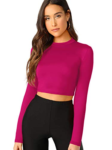 Verdusa Women's Casual Slim Fitted Basic Long Sleeve Solid Crop Tee Top Magenta M