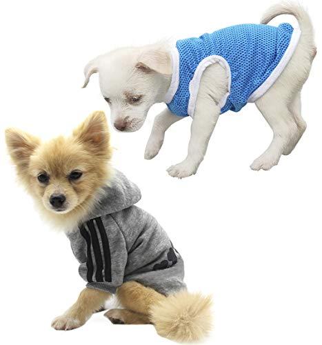 QiCheng&LYS Hundemantel Hund Hoodies Kleidung, Niedlicher Baumwoll Warm Coat Pullover,Hund Sportweste T-Shirt (XL, 2St Grau)
