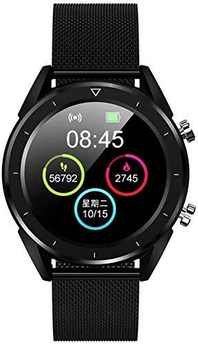 Reloj inteligente impermeable para hombre, reloj de control inalámbrico, pulsera de seguimiento de fitness deportivo-negro