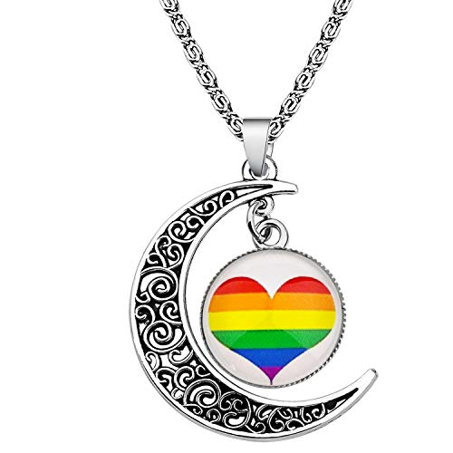 BEKECH Gay Pride Rainbow Necklace Crescent Moon Charm Rainbow Pendant Necklace Gay & Lesbian LGBT Pride Gifts Rainbow Jewelry LGBT Jewelry Lesbian Gift (Necklace)