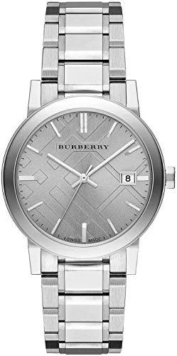 The City BU9035 Armbanduhr, für Herren und Damen, Edelstahl, silberfarben, mit Datumsanzeige, 38 mm