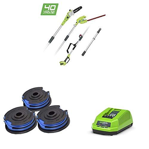 Greenworks Podador de altura y cortador de setos telescópico con batería G40PSH + Bobina doble cordón para cortadoras de césped + Cargador de baterías