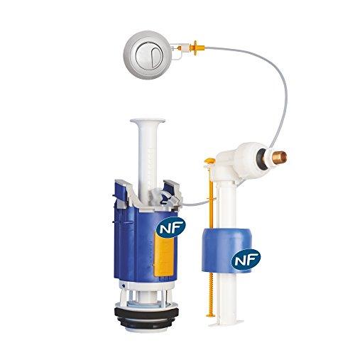 Regiplast 26500 Mécanisme de chasse double débit à câble + robinet flotteur uni 0500 NF CL 1 Blanc