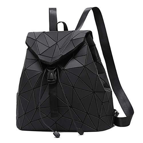 Geometrische Rucksack Fashion Holographisch Rucksäcke Damen Daypacks Schultertasche Travel College Rucksack Reise Schule Rucksack (Schwarz)