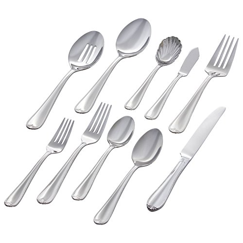 Stone & Beam Traditional Stainless Steel Flatware Silverware Set, Service for 8, 45-Piece, Silver with Royal Trim