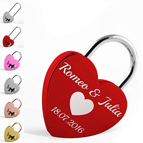 LIEBESSCHLOSS-DESIGNER Liebesschloss mit Gravur und Schlüssel, Herzform in Rot, Gold, Silber und Rose uvm. Ein romantisches Geschenk für Paare, das von Herzen kommt. Jetzt selbst personalisieren!