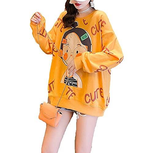 Tbylf Suéter para mujer con estampado de dibujos animados de longitud media y talla grande, naranja, XL