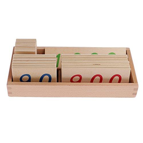 Sharplace Montessori Mathematik Material: 1-1000 Nummer Karten( Bunt) in Holzbox - 1-1000 S