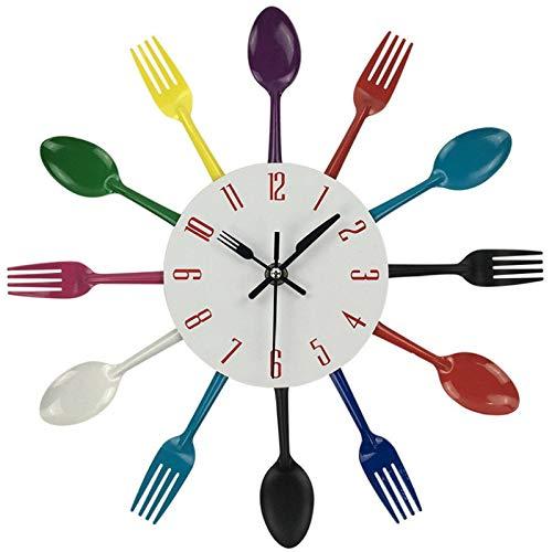 hufeng Reloj de pared multicolor de metal reloj de pared de diseño moderno plateado cubiertos utensilios de cocina 3D cuchara tenedor reloj de pared para decoración del hogar