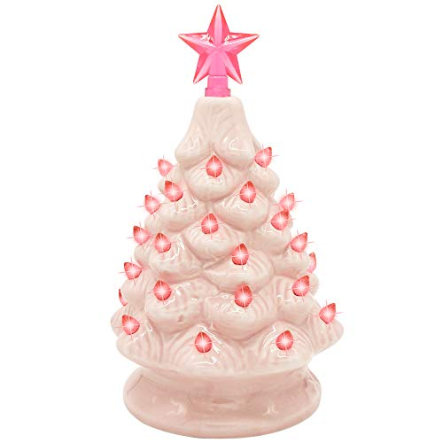 Joiedomi 7' Pink Ceramic Christmas Tree, Prelit Tabletop Christmas Tree with Extra Clear Star Topper & Bulbs for Best Desk Decoration