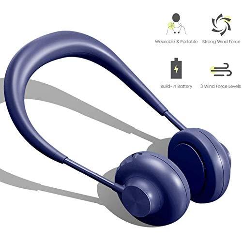 April Story Manos Libres Ventilador de Cuello portátil Ventilador de Auriculares con 3 velocidades de Viento Collar Ventilador para Viaje Oficina Cámping,Azul