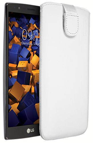 mumbi Echt Ledertasche kompatibel mit LG G4 Hülle Leder Tasche Case Wallet, Weiss