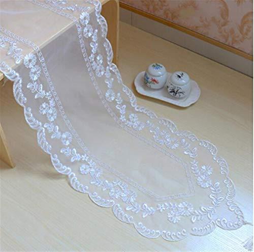 Moderne witte tule borduurwerk bed tafelloper tafelloper van kant eetkamer thee koffie kerst feest bruiloft hotel decoratie 1 stuk groot 40X172CM Wit