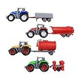 Toyvian 4 unids Modelo de Tractor de Granja Camiones vehículos de ingeniería Juguetes para niños niños