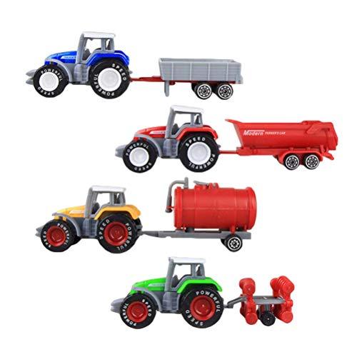 TOYANDONA 4pcs Fattoria Trattore Modello Camion Auto Giocattolo Fattoria Giocare Set Mini Modelli di Auto Giocattoli per Bambini Veicoli educativi Giocattoli Regalo per i Bambini