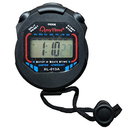 Cronómetro digital electrónico multifuncional con luz de fondo, pantalla grande con fecha y hora adecuado para entrenadores deportivos árbitros