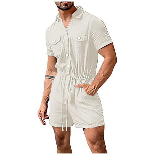 BIBOKAOKE Heren zomer jumpsuit kort pak overall sport jogging training pak vrijetijdspak eendelig streetwear kleding one-piece kledingknoop casual onesie heren shorts pyjama