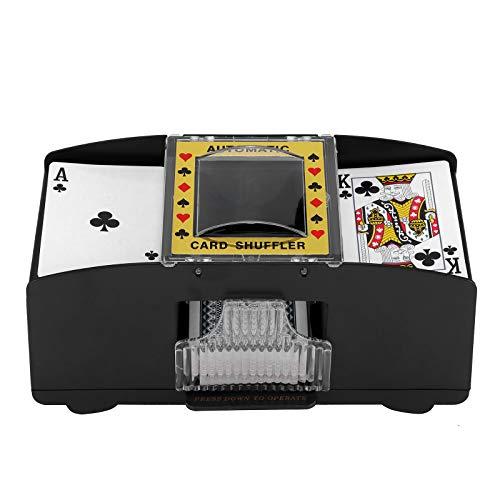 Viitech Automatischer Kartenmischer, elektronischer 2-Deck-Kasino-Poker-Kartenmischer, Poker-Karten-Mischmaschine, batteriebetriebener Kunststoff-Karten-Mixer, Kartenspiel-Werkzeug für Heim-Party
