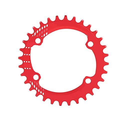 SALUTUYA Plato Redondo Ligero Forma Ergonómica, para Bicicleta de Montaña(Red, 32T)